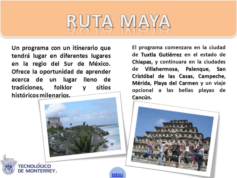 Un programa con un itinerario que tendrá lugar en diferentes lugares en la regio del Sur de México.