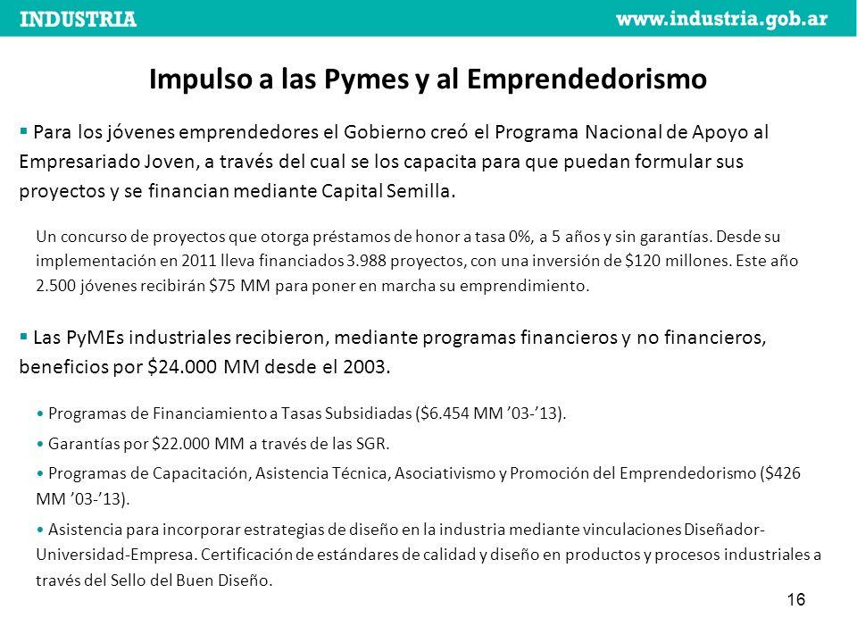 16 Impulso a las Pymes y al Emprendedorismo Para los jóvenes emprendedores el Gobierno creó el Programa Nacional de Apoyo al Empresariado Joven, a través del cual se los capacita para que puedan formular sus proyectos y se financian mediante Capital Semilla.