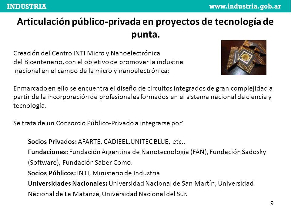 9 Articulación público-privada en proyectos de tecnología de punta.