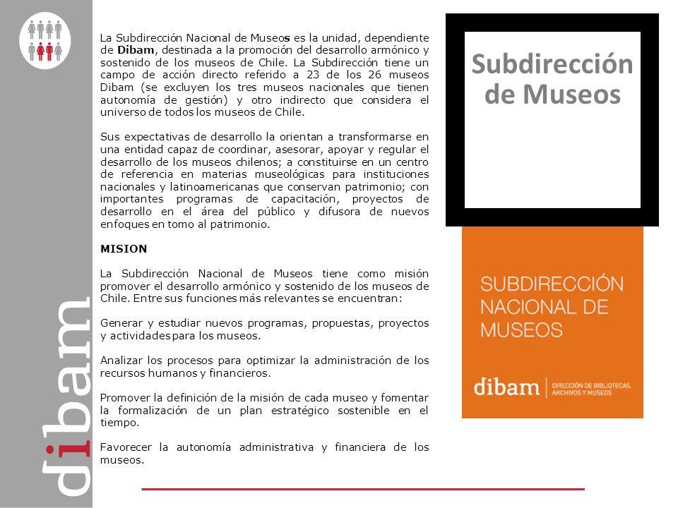 La Subdirección Nacional de Museos es la unidad, dependiente de Dibam, destinada a la promoción del desarrollo armónico y sostenido de los museos de C
