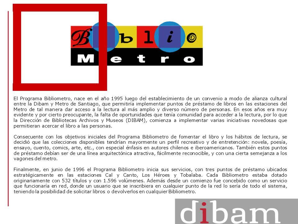 El Programa Bibliometro, nace en el año 1995 luego del establecimiento de un convenio a modo de alianza cultural entre la Dibam y Metro de Santiago, q