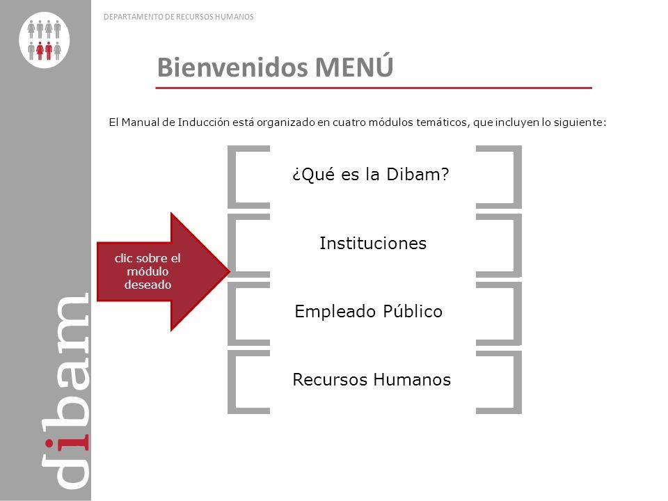 Bienvenidos DEPARTAMENTO DE RECURSOS HUMANOS ¿Qué es la Dibam? Instituciones Empleado Público Recursos Humanos El Manual de Inducción está organizado