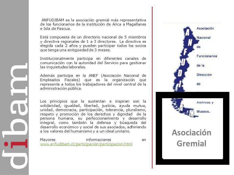 Asociación Gremial ANFUDIBAM es la asociación gremial más representativa de los funcionarios de la institución de Arica a Magallanes e Isla de Pascua.