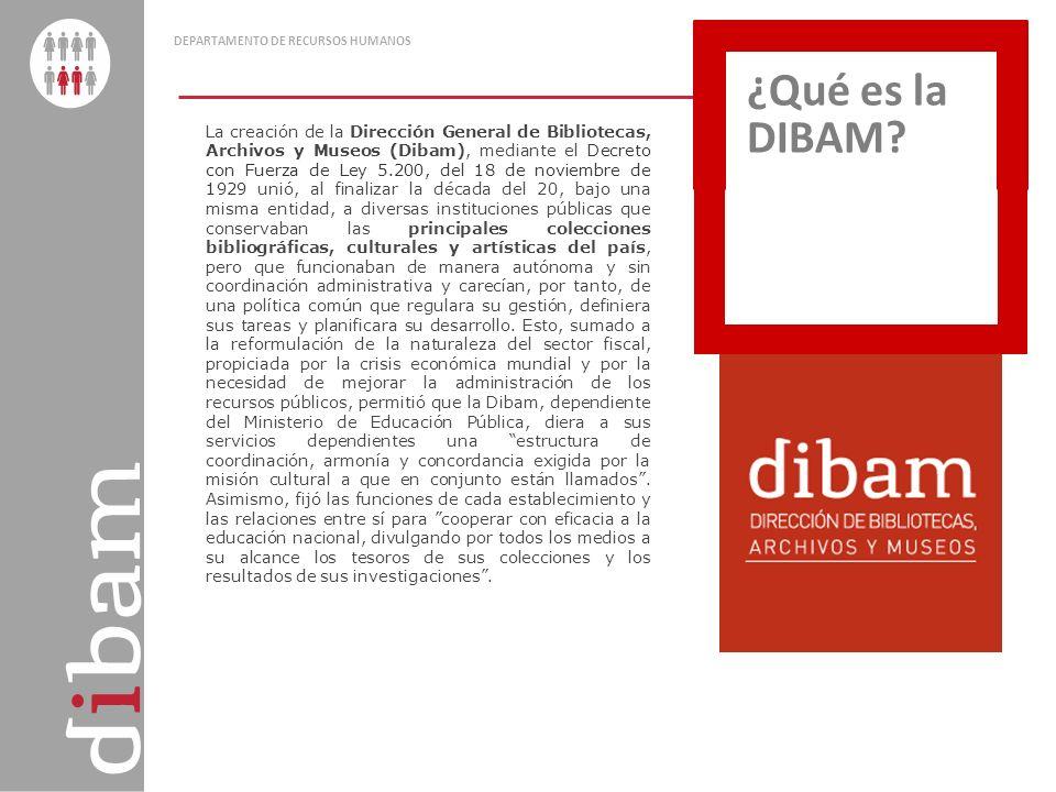 DEPARTAMENTO DE RECURSOS HUMANOS La creación de la Dirección General de Bibliotecas, Archivos y Museos (Dibam), mediante el Decreto con Fuerza de Ley
