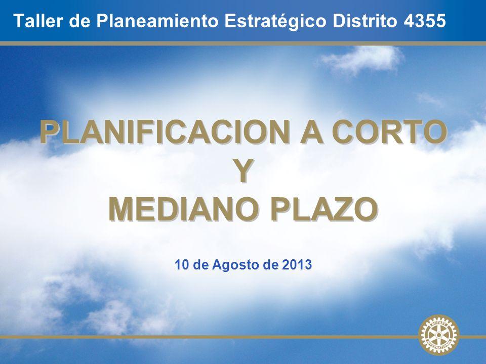 10 de Agosto de 2013 Taller de Planeamiento Estratégico Distrito 4355 PLANIFICACION A CORTO Y MEDIANO PLAZO PLANIFICACION A CORTO Y MEDIANO PLAZO
