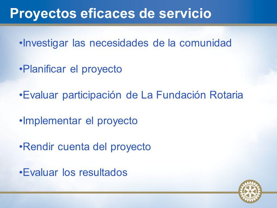 Proyectos eficaces de servicio Investigar las necesidades de la comunidad Planificar el proyecto Evaluar participación de La Fundación Rotaria Implementar el proyecto Rendir cuenta del proyecto Evaluar los resultados
