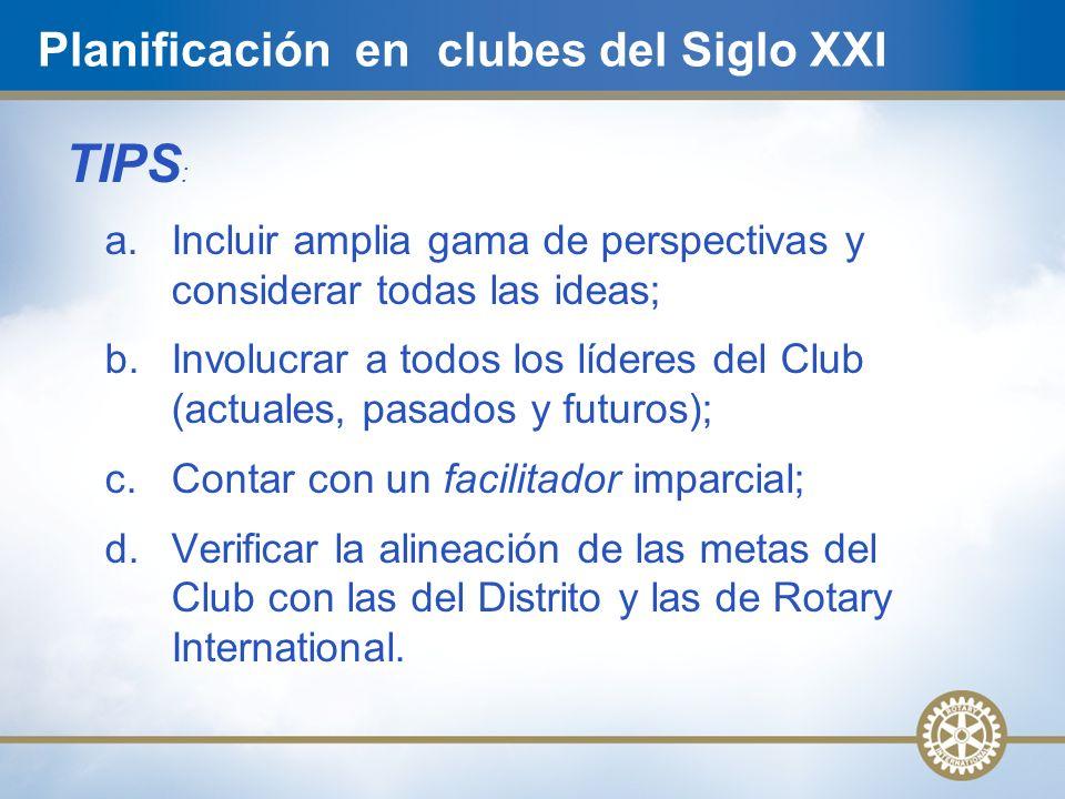 TIPS : a. Incluir amplia gama de perspectivas y considerar todas las ideas; b. Involucrar a todos los líderes del Club (actuales, pasados y futuros);