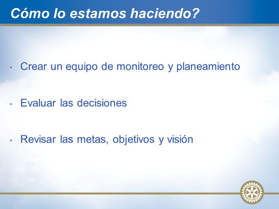 Cómo lo estamos haciendo? Crear un equipo de monitoreo y planeamiento Evaluar las decisiones Revisar las metas, objetivos y visión