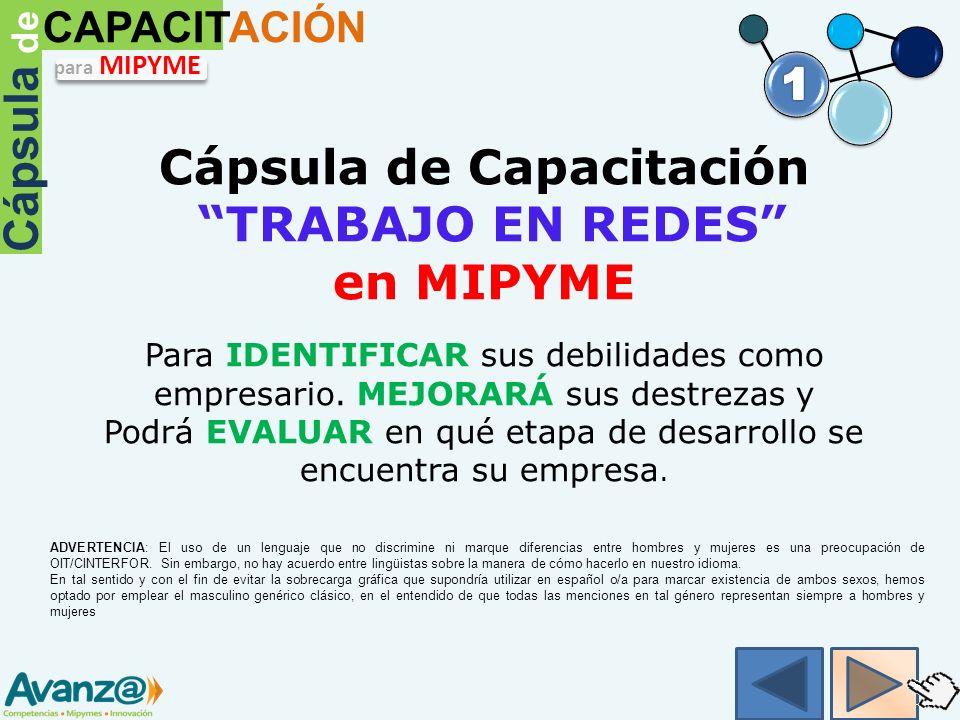 Cápsula de Capacitación TRABAJO EN REDES en MIPYME Para IDENTIFICAR sus debilidades como empresario.