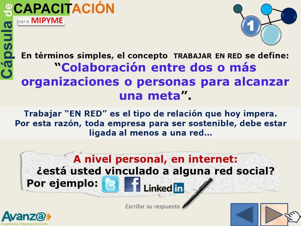 En términos simples, el concepto TRABAJAR EN RED se define:Colaboración entre dos o más organizaciones o personas para alcanzar una meta.