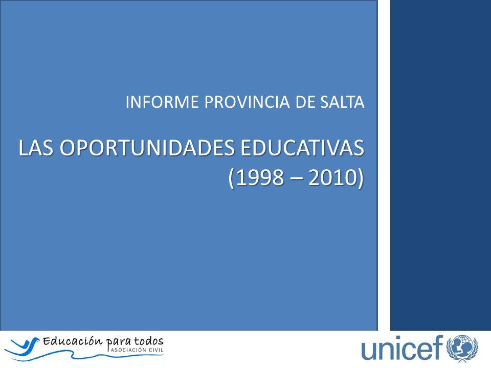 El Informe de la provincia de Salta – Las oportunidades educativas (1998 – 2010)… Analiza las particularidades de los itinerarios escolares de niños, niñas y adolescentes según ingreso, permanencia y progresión en el sistema educativo.