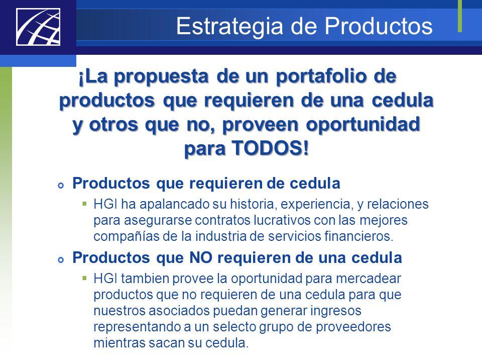 Estrategia de Productos ¡La propuesta de un portafolio de productos que requieren de una cedula y otros que no, proveen oportunidad para TODOS! Produc