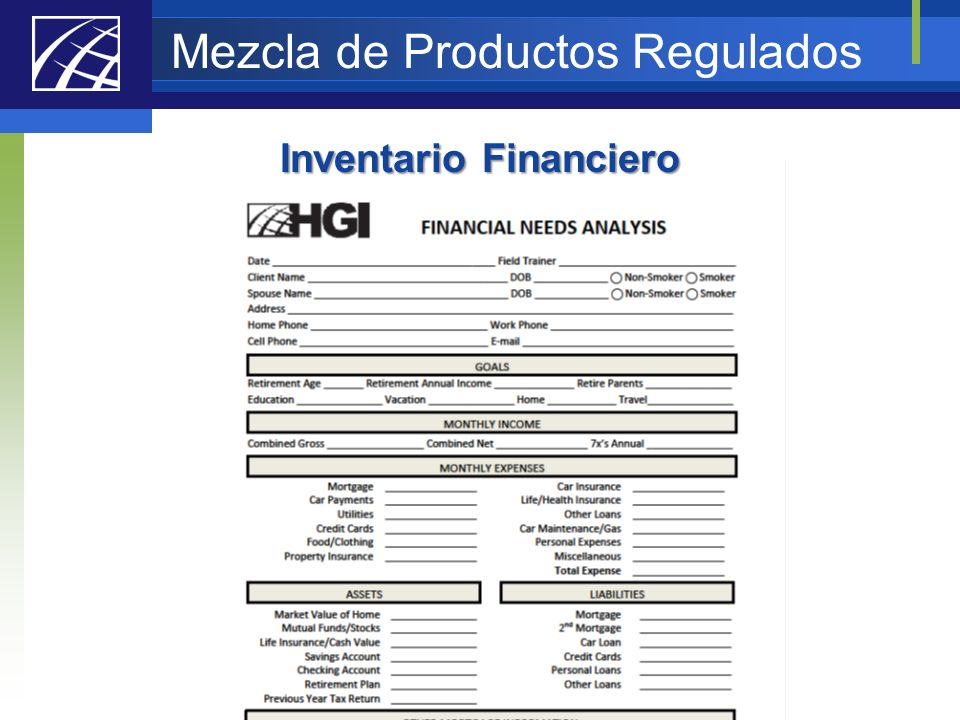 Mezcla de Productos Regulados Inventario Financiero