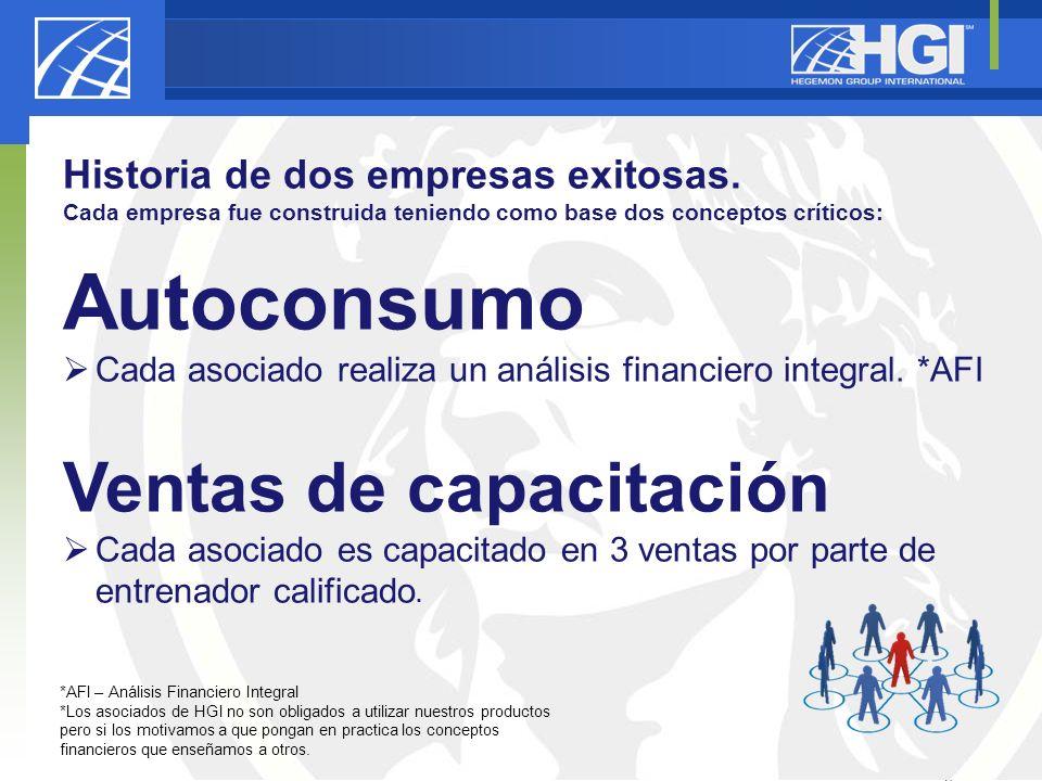 25 Historia de dos empresas exitosas. Cada empresa fue construida teniendo como base dos conceptos críticos: Autoconsumo Cada asociado realiza un anál