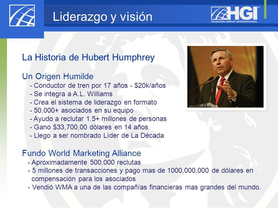 Liderazgo y visión La Historia de Hubert Humphrey Un Origen Humilde - Conductor de tren por 17 años - $20k/años - Se integra a A.L. Williams - Crea el