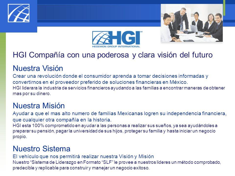 HGI Compañía con una poderosa y clara visión del futuro Nuestra Visión Crear una revolución donde el consumidor aprenda a tomar decisiones informadas