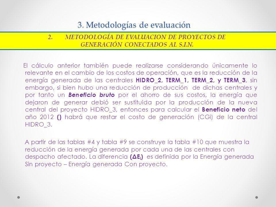 3. Metodologías de evaluación El cálculo anterior también puede realizarse considerando únicamente lo relevante en el cambio de los costos de operació