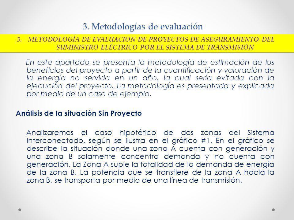 3. Metodologías de evaluación En este apartado se presenta la metodología de estimación de los beneficios del proyecto a partir de la cuantificación y