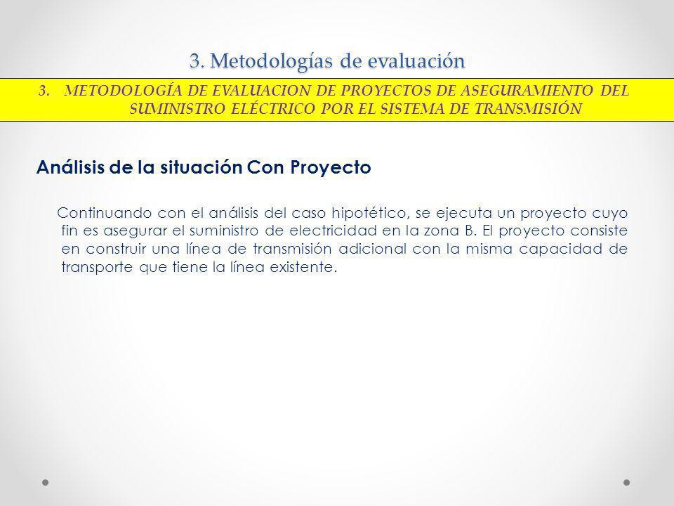 3. Metodologías de evaluación Análisis de la situación Con Proyecto Continuando con el análisis del caso hipotético, se ejecuta un proyecto cuyo fin e