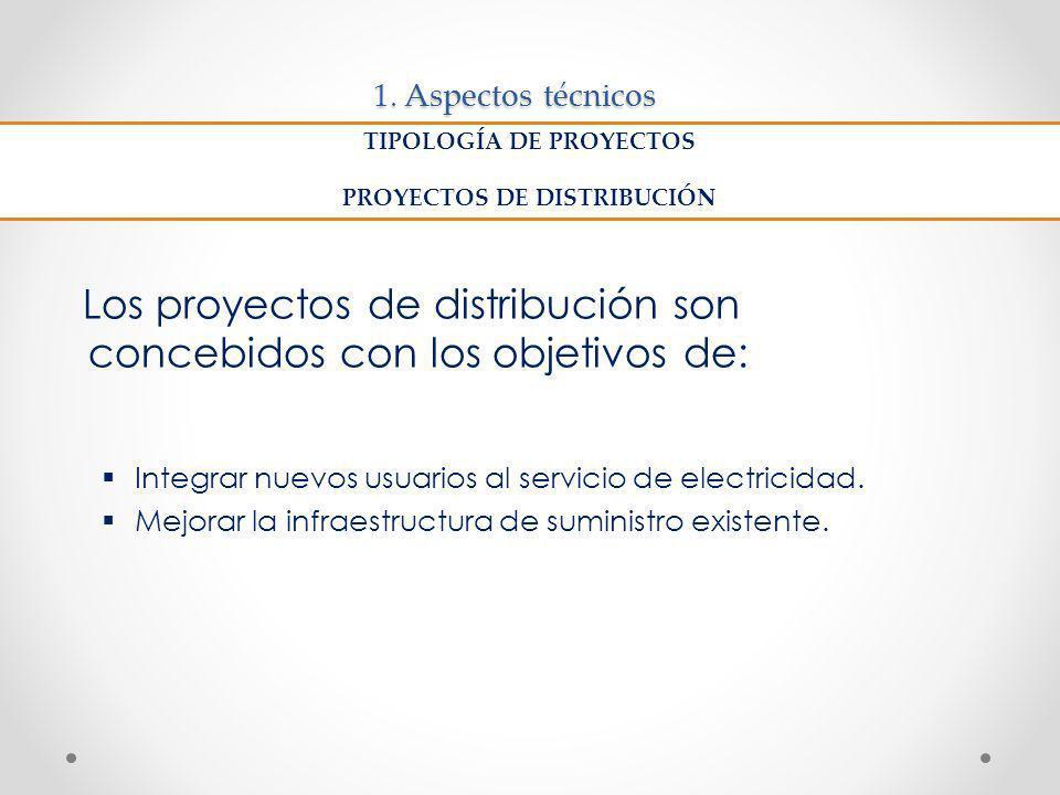 1. Aspectos técnicos Los proyectos de distribución son concebidos con los objetivos de: Integrar nuevos usuarios al servicio de electricidad. Mejorar