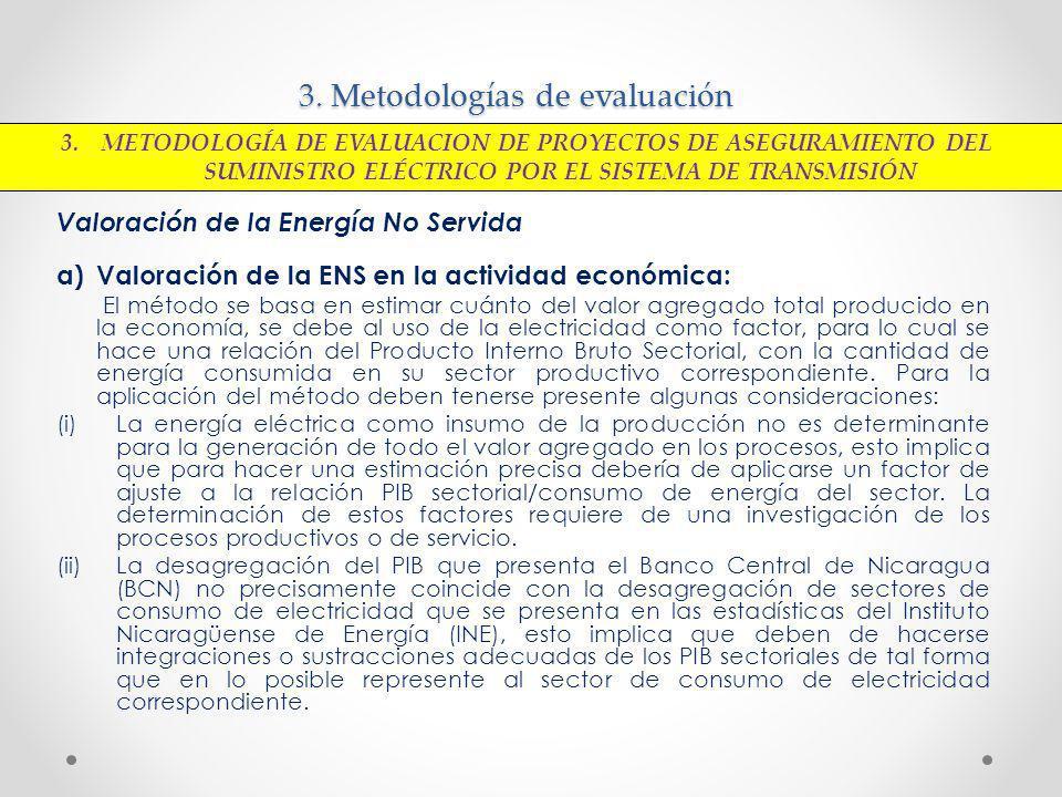 3. Metodologías de evaluación Valoración de la Energía No Servida a)Valoración de la ENS en la actividad económica: El método se basa en estimar cuánt