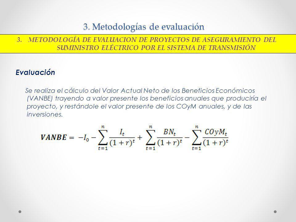 3. Metodologías de evaluación Evaluación Se realiza el cálculo del Valor Actual Neto de los Beneficios Económicos (VANBE) trayendo a valor presente lo