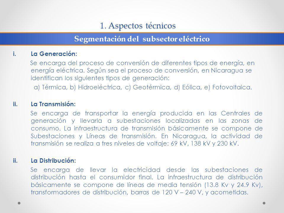 1. Aspectos técnicos i.La Generación: Se encarga del proceso de conversión de diferentes tipos de energía, en energía eléctrica. Según sea el proceso