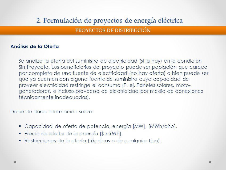 2. Formulación de proyectos de energía eléctrica Análisis de la Oferta Se analiza la oferta del suministro de electricidad (si la hay) en la condición