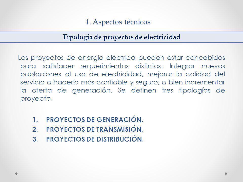 1. Aspectos técnicos Los proyectos de energía eléctrica pueden estar concebidos para satisfacer requerimientos distintos: Integrar nuevas poblaciones