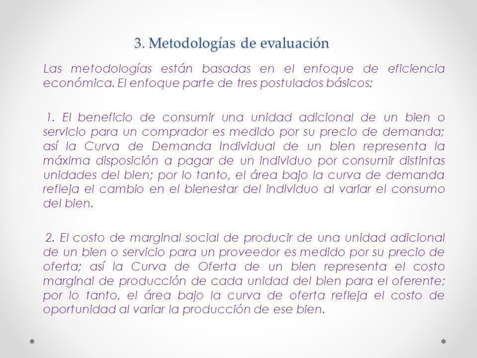 3. Metodologías de evaluación Las metodologías están basadas en el enfoque de eficiencia económica. El enfoque parte de tres postulados básicos: 1. El