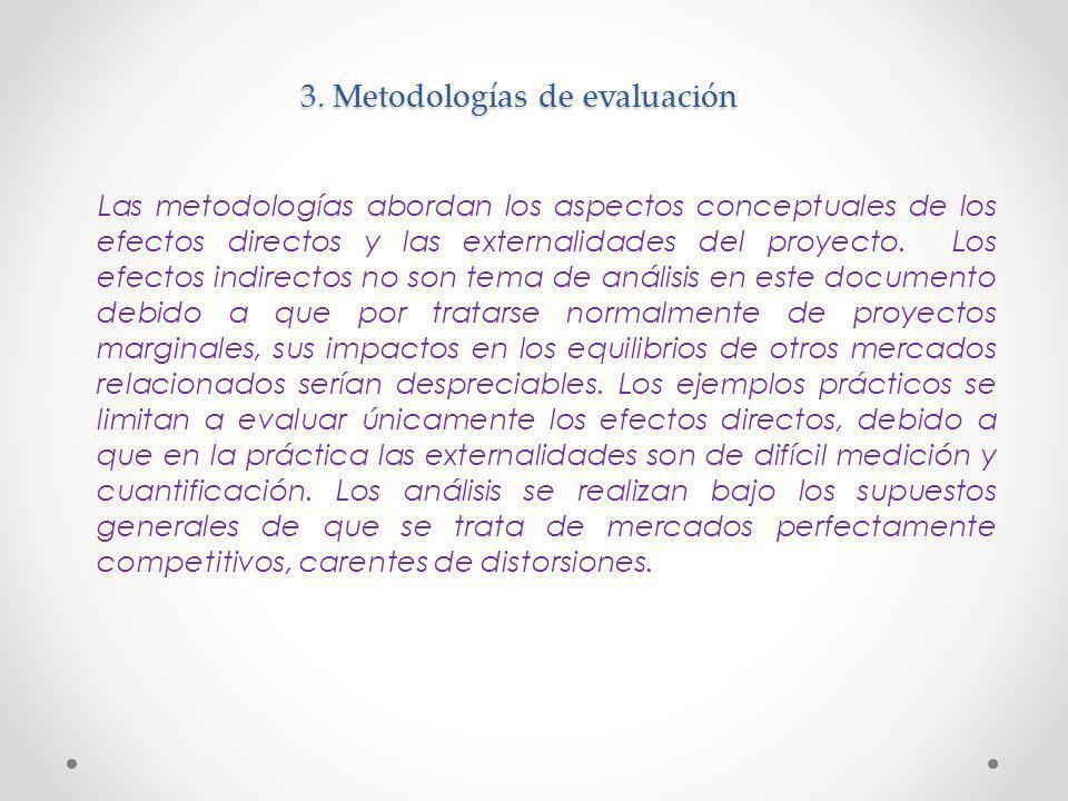 3. Metodologías de evaluación Las metodologías abordan los aspectos conceptuales de los efectos directos y las externalidades del proyecto. Los efecto