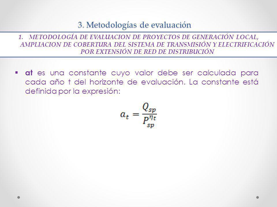 3. Metodologías de evaluación at es una constante cuyo valor debe ser calculada para cada año t del horizonte de evaluación. La constante está definid