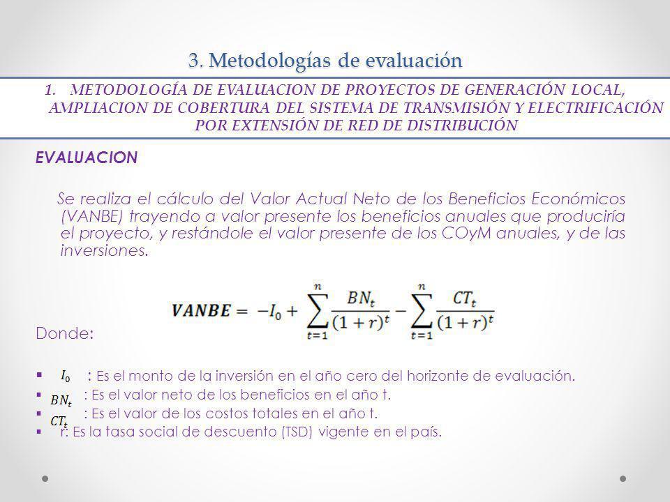 3. Metodologías de evaluación EVALUACION Se realiza el cálculo del Valor Actual Neto de los Beneficios Económicos (VANBE) trayendo a valor presente lo