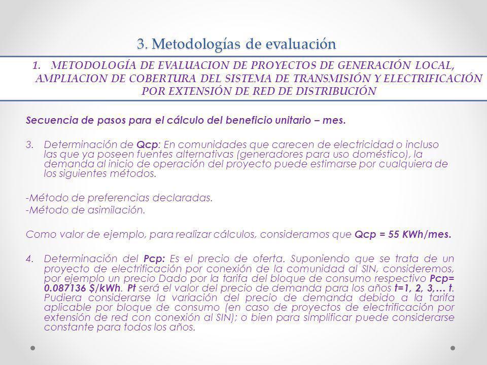 3. Metodologías de evaluación Secuencia de pasos para el cálculo del beneficio unitario – mes. 3.Determinación de Qcp : En comunidades que carecen de