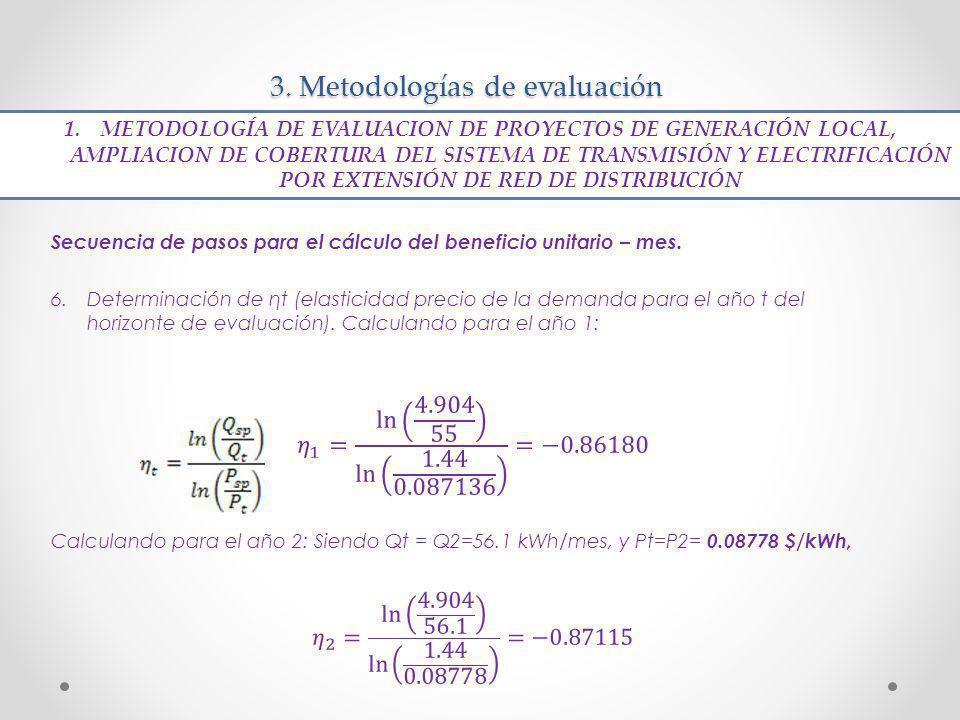3. Metodologías de evaluación 1. METODOLOGÍA DE EVALUACION DE PROYECTOS DE GENERACIÓN LOCAL, AMPLIACION DE COBERTURA DEL SISTEMA DE TRANSMISIÓN Y ELEC