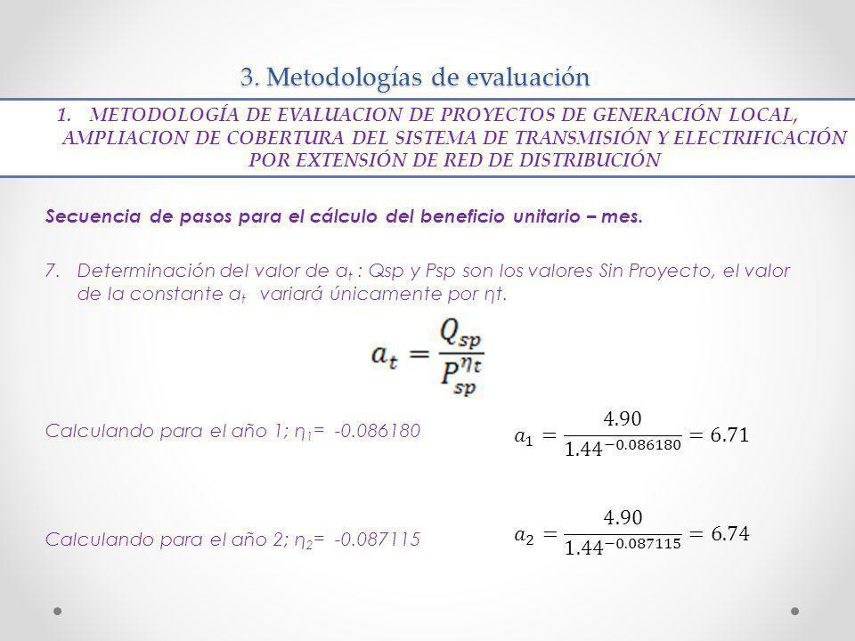 3. Metodologías de evaluación Secuencia de pasos para el cálculo del beneficio unitario – mes. 7.Determinación del valor de a t : Qsp y Psp son los va