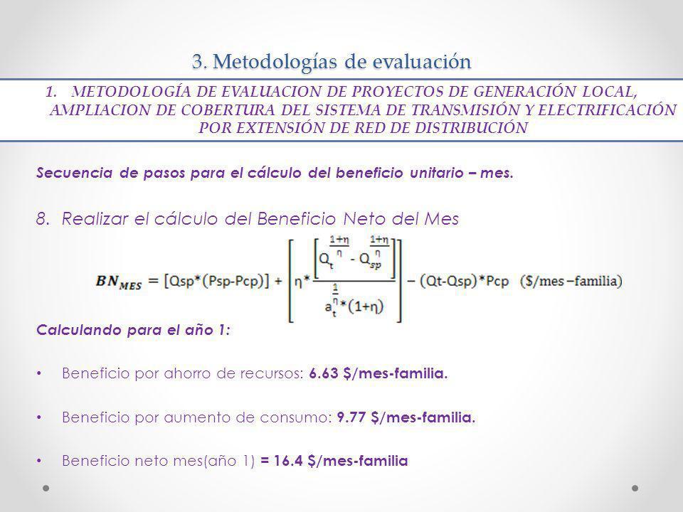 3. Metodologías de evaluación Secuencia de pasos para el cálculo del beneficio unitario – mes. 8.Realizar el cálculo del Beneficio Neto del Mes Calcul