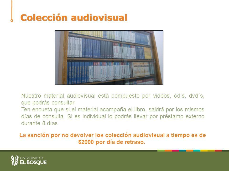 Colección audiovisual Nuestro material audiovisual está compuesto por videos, cd´s, dvd´s, que podrás consultar. Ten encueta que si el material acompa