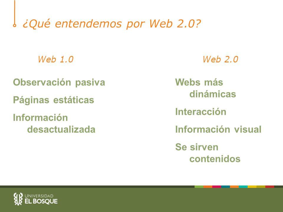 ¿Qué entendemos por Web 2.0? Web 1.0Web 2.0 Observación pasiva Páginas estáticas Información desactualizada Webs más dinámicas Interacción Información