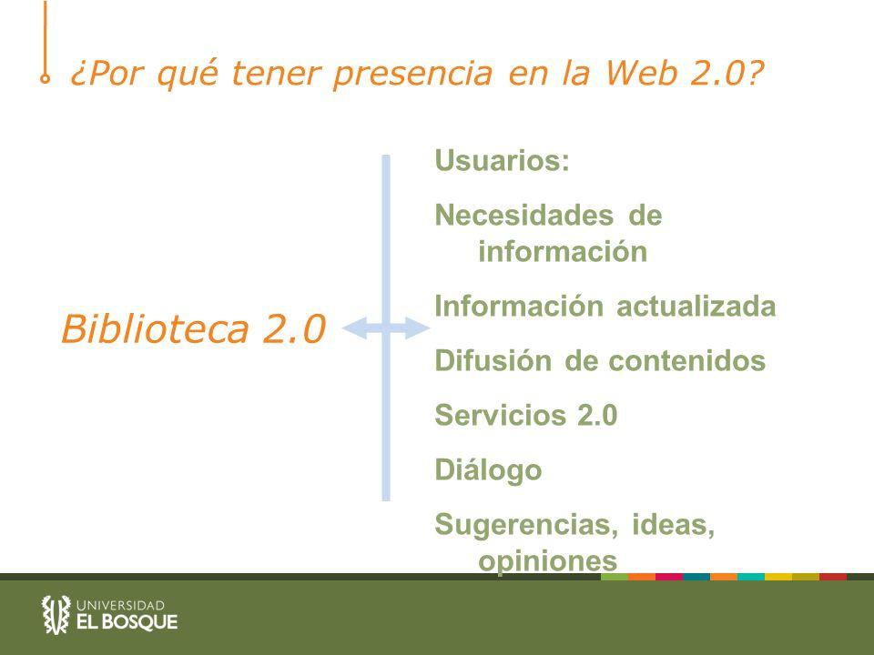 ¿Por qué tener presencia en la Web 2.0? Biblioteca 2.0 Usuarios: Necesidades de información Información actualizada Difusión de contenidos Servicios 2