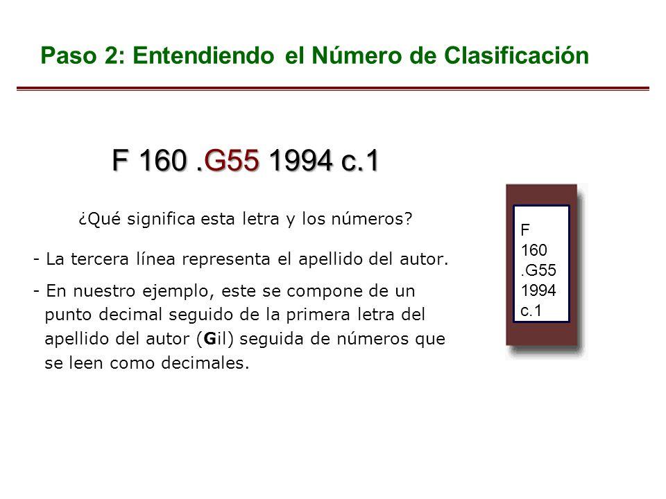F 160.G55 1994 c.1 ¿Qué significa esta letra y los números? - La tercera línea representa el apellido del autor. - En nuestro ejemplo, este se compone