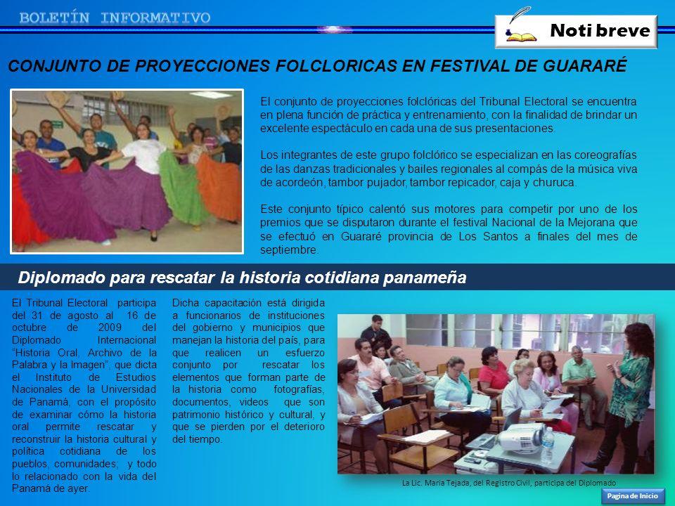 Noti breve Pagina de Inicio El conjunto de proyecciones folclóricas del Tribunal Electoral se encuentra en plena función de práctica y entrenamiento,