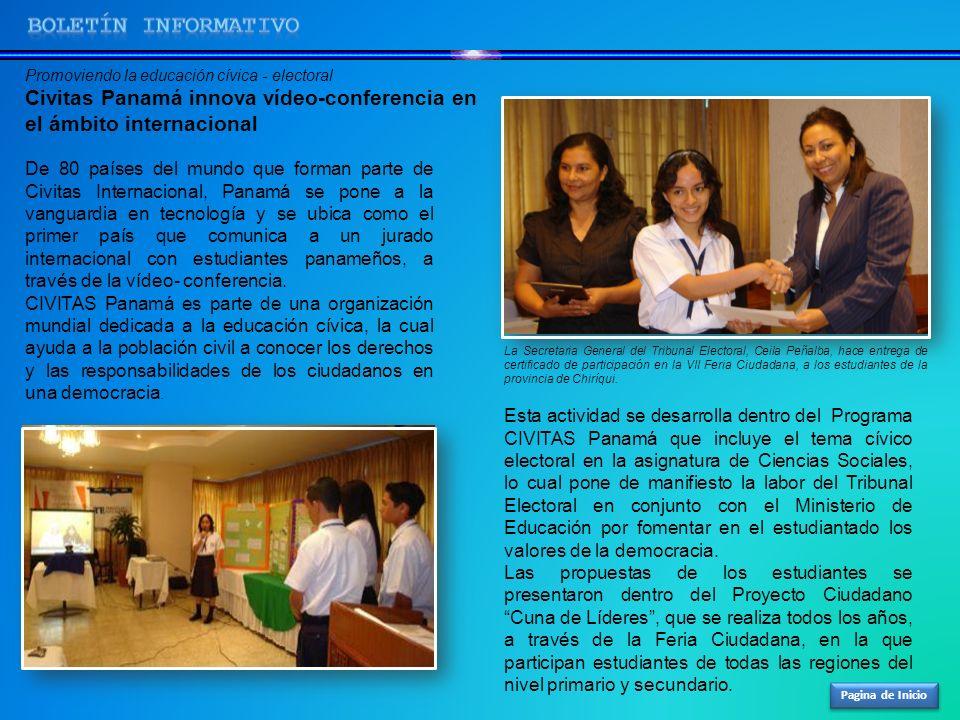 Pagina de Inicio Promoviendo la educación cívica - electoral Civitas Panamá innova vídeo-conferencia en el ámbito internacional De 80 países del mundo
