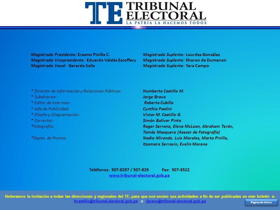 Pagina de Inicio Magistrado Presidente: Erasmo Pinilla C. Magistrada Suplente: Lourdes González Magistrado Vicepresidente: Eduardo Valdés Escoffery Ma