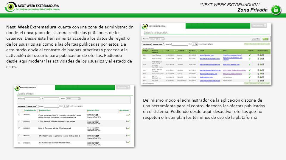 Next Week Extremadura cuenta con una zona de administración donde el encargado del sistema recibe las peticiones de los usuarios.