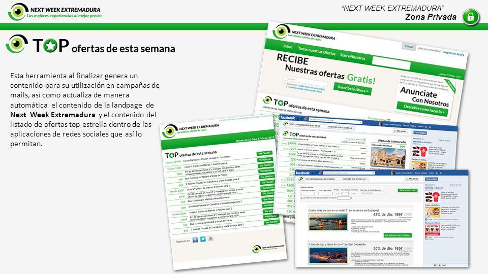 Esta herramienta al finalizar genera un contenido para su utilización en campañas de mails, así como actualiza de manera automática el contenido de la landpage de Next Week Extremadura y el contenido del listado de ofertas top estrella dentro de las aplicaciones de redes sociales que así lo permitan.