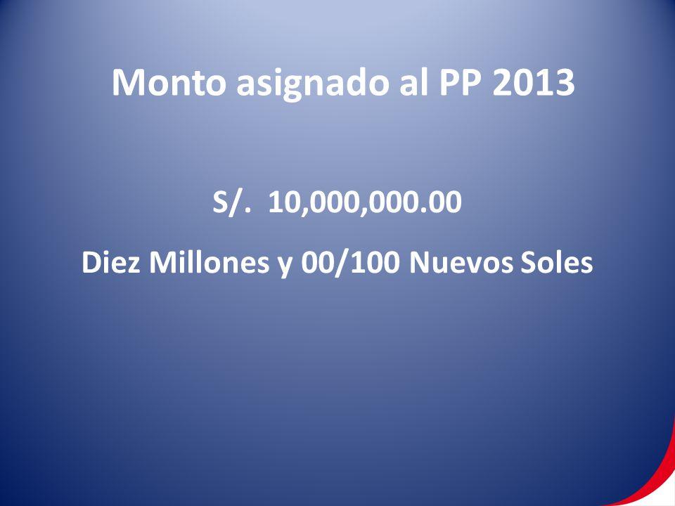 Monto asignado al PP 2013 S/. 10,000,000.00 Diez Millones y 00/100 Nuevos Soles