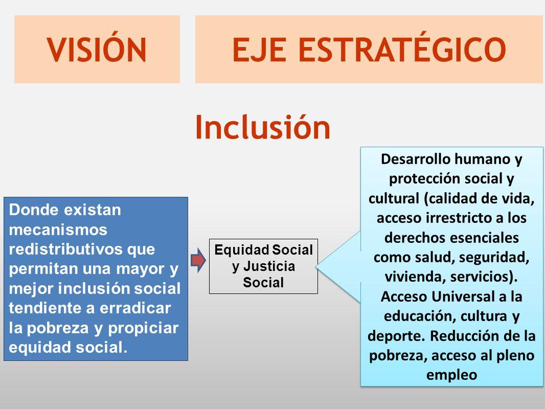 Donde existan mecanismos redistributivos que permitan una mayor y mejor inclusión social tendiente a erradicar la pobreza y propiciar equidad social.