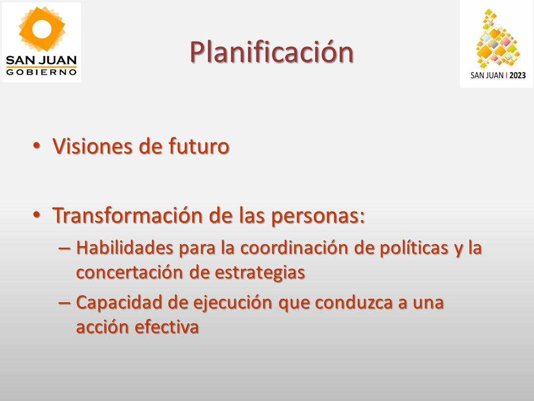 Planificación Visiones de futuro Visiones de futuro Transformación de las personas: Transformación de las personas: – Habilidades para la coordinación de políticas y la concertación de estrategias – Capacidad de ejecución que conduzca a una acción efectiva