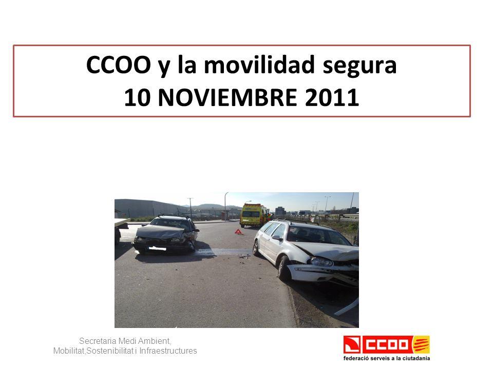 CCOO y la movilidad segura 10 NOVIEMBRE 2011 Secretaria Medi Ambient, Mobilitat,Sostenibilitat i Infraestructures